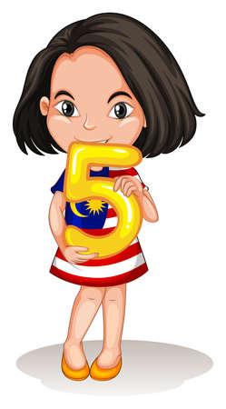 number of people: Little girl holding number five illustration Illustration