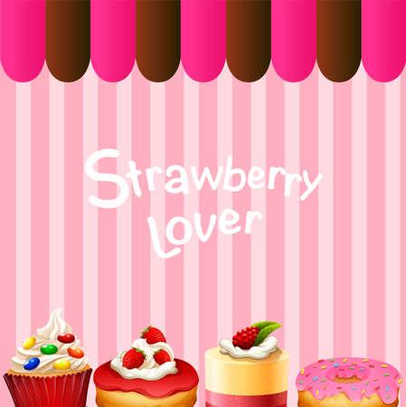 flavor: Different kind of dessert strawberry flavor illustration