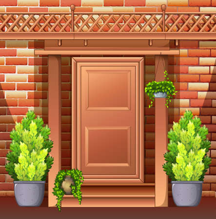 exterior house: Front door of a house illustration