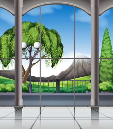 view window: Room with window view of nature illustration