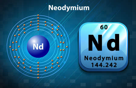 orbital: Symbol and electron diagram for Neodymium illustration