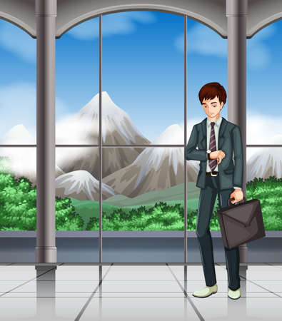 looking: Business man looking at the watch illustration Illustration