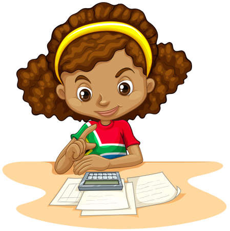 cartoon kid: Little girl using calculator  illustration Illustration