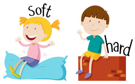 Opposite adjective with soft and hard illustration