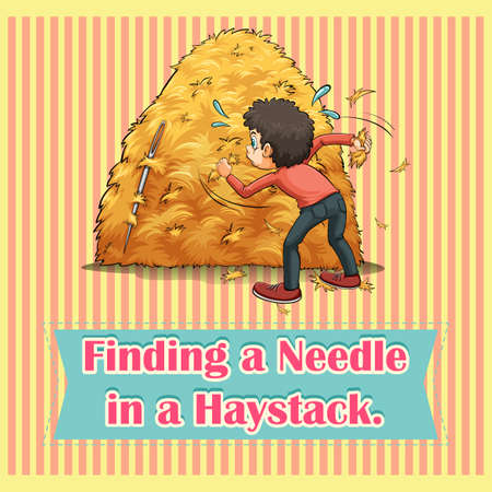 figurative: Idiom finding a needle in a haystack illustration