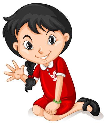 hongkong: Little girl in HongKong dress waving illustration Illustration