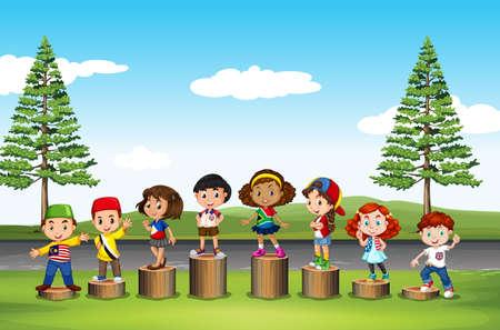 international students: Children standing on logs in the park illustration
