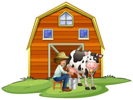 art product: Farmer milking a cow illustration