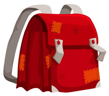 Old schoolbag with marks illustration