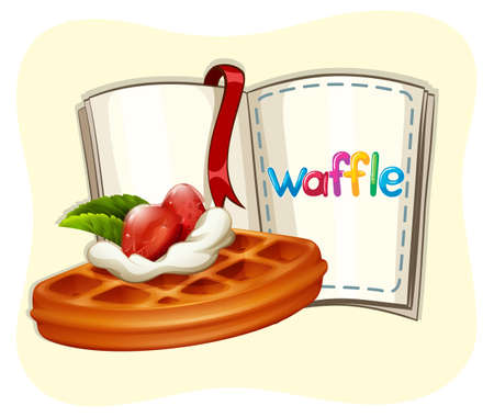 waffle: Waffle with strawberry and book illustration