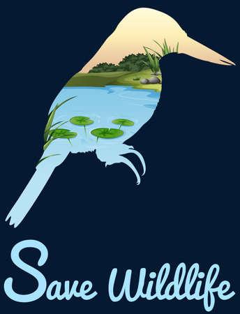 wild living: Save wildlife design with wild bird illustration