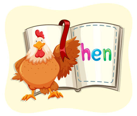 opened book: Chicken and opened book illustration Illustration
