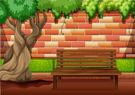 chair garden: Outdoor sitting area on the walkway illustration