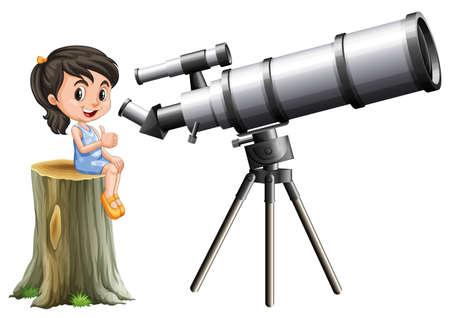 astronomie: Kleines Mädchen, das durch Teleskop Illustration suchen Illustration
