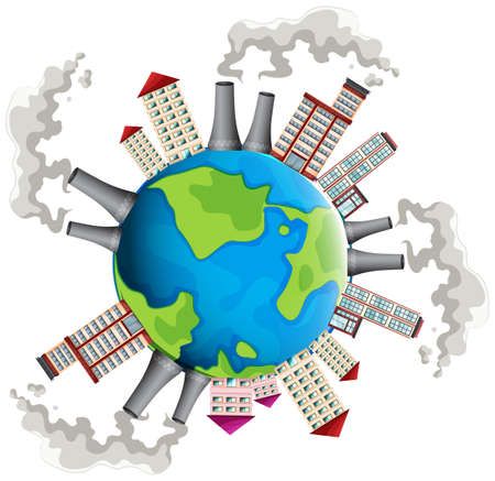 planet earth: Industrial area all over the world illustration Illustration