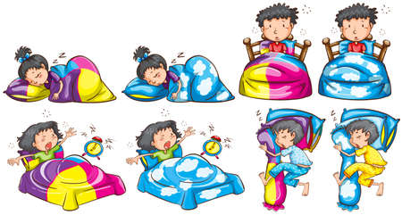 Bedtime for boy and girl illustration