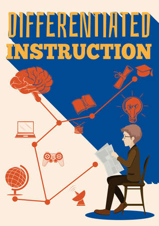 instruction: Differentiated instruction sign with a man illustration