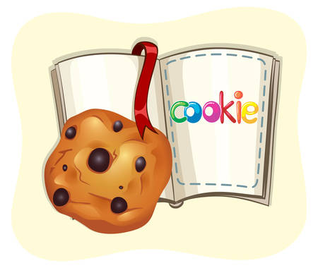 chocolate chip: Chocolate chip cookie and a book illustration
