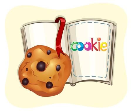 galleta de chocolate: Galleta de viruta y una ilustración de libros Vectores