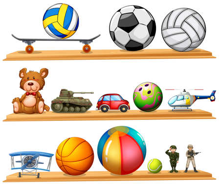 futbol infantil: Ball set and other toys illustration