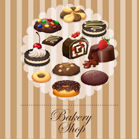 chocolate dessert: Diverse dessert on banner illustration Illustration