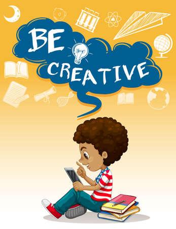 children background: Little boy reading books illustration Illustration