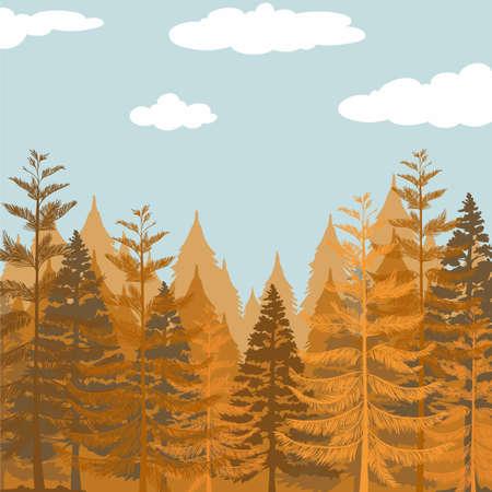 arbol de pino: Bosque de pinos en la ilustración día Vectores