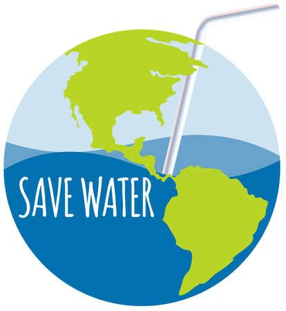 ahorrar agua: Ahorre el tema del agua con la ilustraci�n de la paja