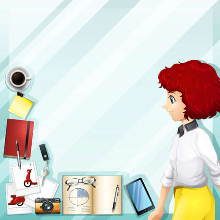 woman accessories: Working woman and other accessories illustration