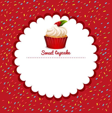 rasberry: Border design with cupcake illustration