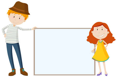short: Tall man and short girl illustration Illustration