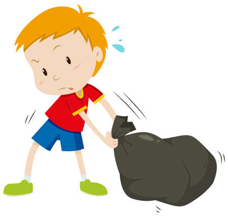 garbage bag: Little boy dragging a black bag illustration Illustration