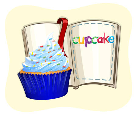 blue book: Blue cupcake and a book illustration
