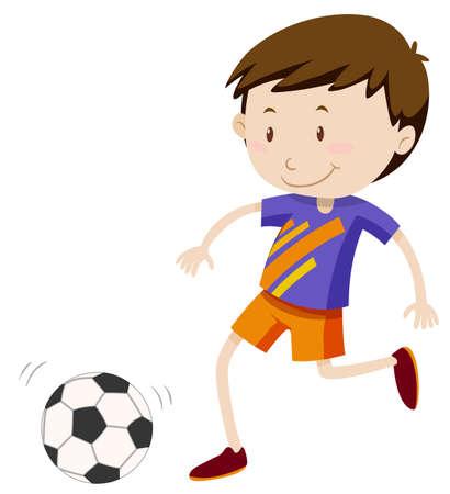 kicking ball: Boy kicing soccer ball illustration