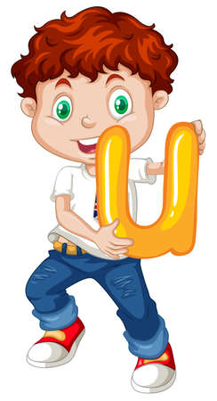 letters clipart: Little boy holding letter u illustration