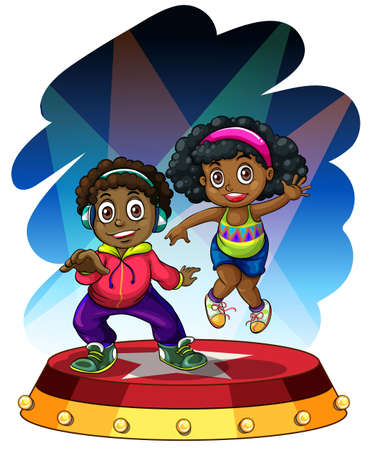 african american: African american boy and girl dancing illustration