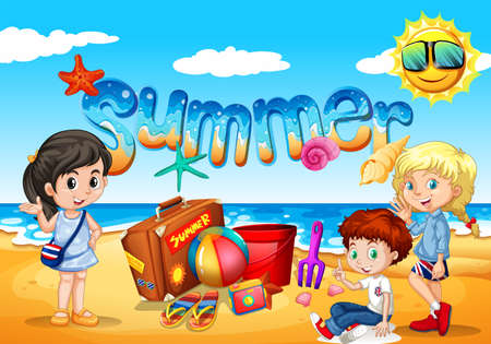 beach: Children enjoy summer on the beach illustration Illustration