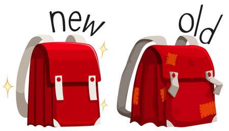 Schoolbag new and old illustration  イラスト・ベクター素材