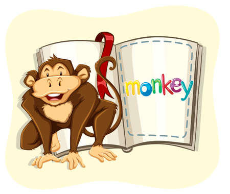 wild living: Little monkey and a book illustration Illustration