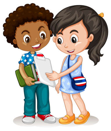 international students: Boy and girl working together illustration