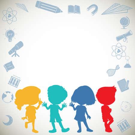 Border design with silhouette children illustration