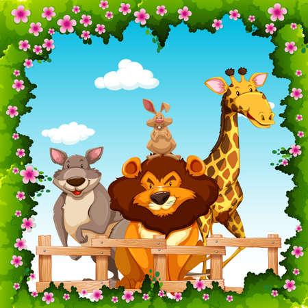 animales safari: Los animales salvajes detrás de la valla de la ilustración