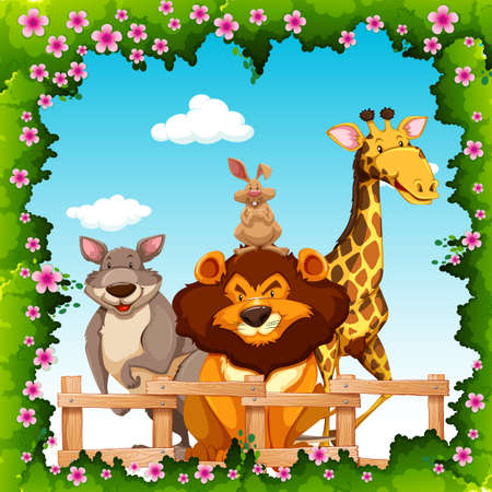 group of animals: Wild animals behind the fence illustration Illustration