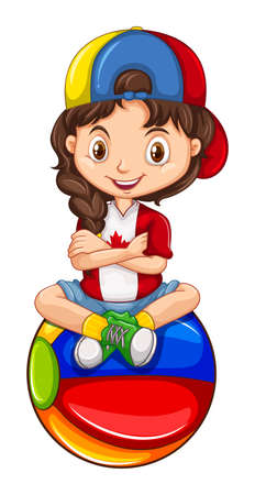 Little girl sitting on the ball illustration