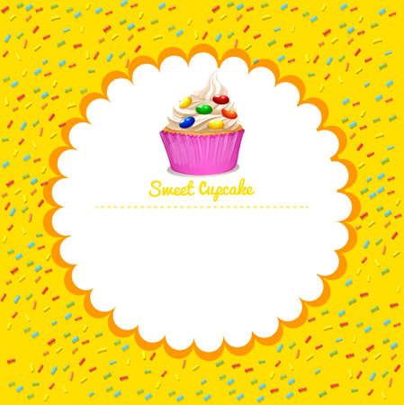 cupcake background: Border design with cupcake illustration