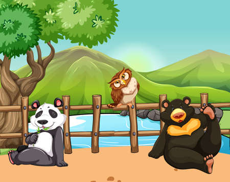birds scenery: Wild animals on the ground illustration