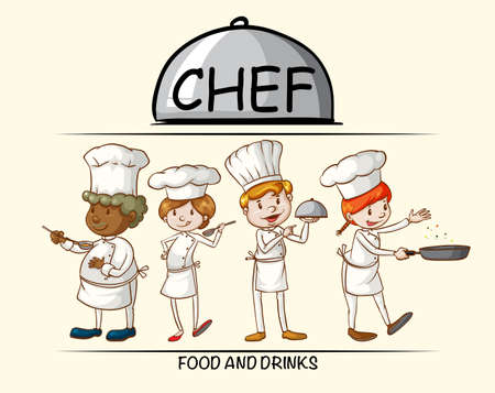 male female: Many chefs cooking food illustration Illustration