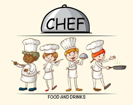 food: Many chefs cooking food illustration Illustration