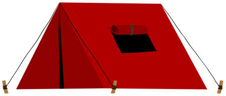 Red tent with folded window illustration Çizim
