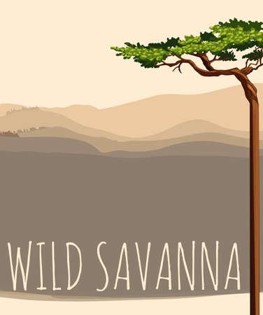 green fields: Nature scene with wild savanna illustration